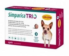 Simparica Trio, žvýkací tablety pro psy 1,25–2,5 kg