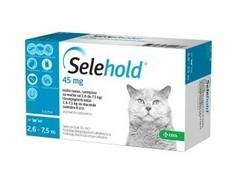 Selehold 45 mg, roztok pro nakapání na kůži - spot-on pro kočky 2,6 – 7,5 kg