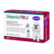 Simparica Trio, žvýkací tablety pro psy >2,5–5 kg
